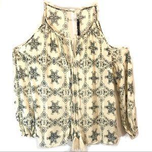 Ark & Co Open Shoulder Button Down Tassel Blouse S